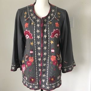 Johnny Was Gray Embroidered Jacket / Size Large